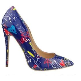 [Venenos] 女性の新しい単一の靴は浅い口のハイヒールのファッションレトロスチレットヒールを指摘 (Color : Blue, Size : 22.5CM)