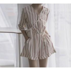 シフォンストライプ オールインワン レディース 韓國 オルチャン ファッション 夏服 レディース 夏新作オールインワン 韓國風