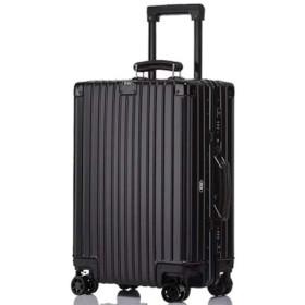 スーツケース (RXO)復古風 アルミ合金ボディ 超軽量 マット仕上げ 耐食耐久 出張旅行 機内持ち込み可 キャリーケース TSAロック 静音8輪 日本語取扱説明書防塵カバー付き (S, ブラック)