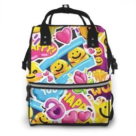 万洋 最新旅行 通勤 個性的 多機能レジャーバッグ リュック マザーズバッグ ベビー用品収納 出産準備 防水盗難防止ポケット シンプル大容量手提げ袋 かわいい -ハッピースマイリー絵文字顔