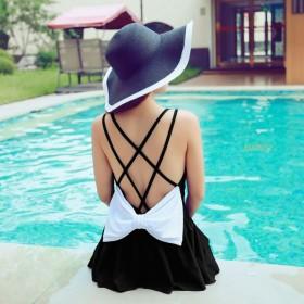 ワンピース水着 - Miniministore 水着 ワンピース 体型カバー 大きいサイズ オープンバック クロスライン リボン付き
