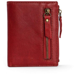 L.Z.H 二つ折り財布 メンズ ウォレット レザー RFID盗難防止 財布 (Color : Red, Size : S)