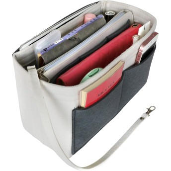 APSOONSELL フェルト バッグインバッグ バックインバック 軽量 自立 軽い インナーバッグ 大容量 トートバッグ インバッグ ホワイト+(グレー) L