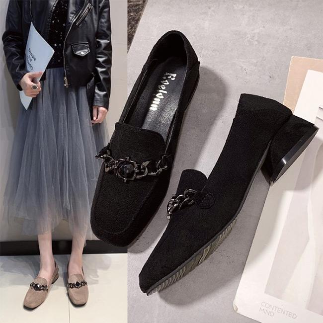 FOFU-包鞋歐美個性鍊條絨面低跟方頭包鞋【02S11360】