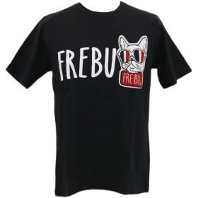 FREBULL(フレブル) Tシャツ 半袖 ロゴ サガラ ワッペン ブルドッグ S8513-322 ブラック・ホワイト・グレー・ブルー (XL, ブラック)