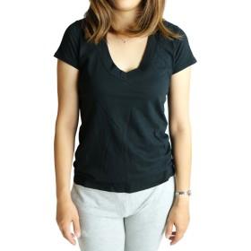 (ジェームスパース) james perse S/S Relaxed Casual V-Neck ショートスリーブ 無地 Vネック Tシャツ レディース 1 BLACK [並行輸入品]