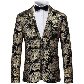 WHATLEES テーラードジャケット 柄 オシャレ メンズ ブレザー ジャケット パーティ 紳士 春秋 大きいサイズAT0001-03-S