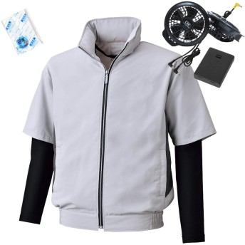 空調服 ビッグボーン 2019年新商品 UVカット半袖ジャケット コンプレッション袖付(2019年新型ファン・電池ボックス/保冷材2個付)099-BK6059-1-H (5L, 68-シルバーグレー×ブラック)