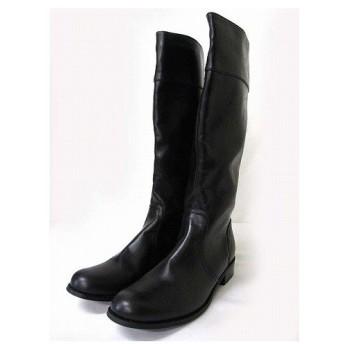 【中古】オリエンタルトラフィック ORIENTAL TRAFFIC ロング ブーツ レザー アーモンドトゥ ブラック 黒 LL 25.5 シューズ 靴 ●T 190730MS10B レディース