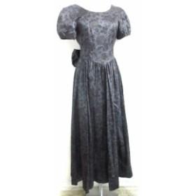 【中古】ローラアシュレイ ドレス ワンピース ロング バックリボン フラワー 花柄 パフスリーブ 円形フレア 黒 7A