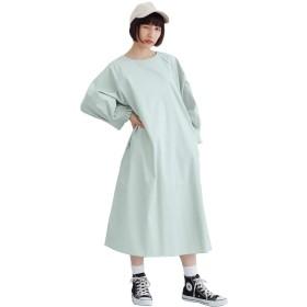 (メルロー) merlot 袖口タックラグランワンピース グリーン