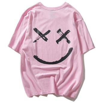 SSZO メンズ ボイス Tシャツ 半袖 オシャレ 顔柄 ストリート おもしろ カジュアル トップス ビッグサイズ 快適 夏 ゆったり 無地 (XL, ピンク)