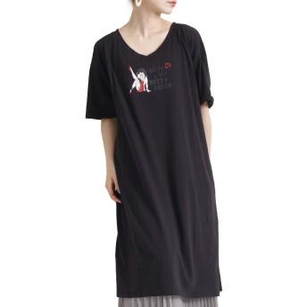 [ゴールドジャパン] 大きいサイズ レディース ワンピース Betty キャラ ロゴ Tシャツ ロング 膝丈 スリット map-165bbl LL ブラック