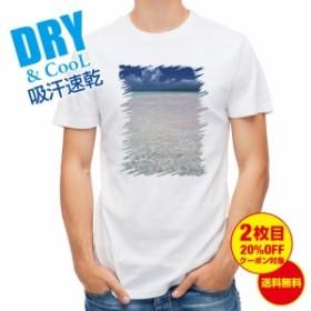 Tシャツ 海の風景 夏の海 海 風景 背景 送料無料 メンズ ロゴ 文字 春 夏 秋 インナー 大きいサイズ 洗濯 ポリエステル