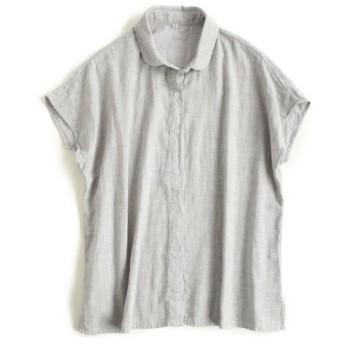 ハクチョウ(hakucho) シャツ ブラウス シンプル レディース 2重ガーゼ 襟付き 半袖  女性 トップス 夏 軽やか 涼やか (L, グレー)
