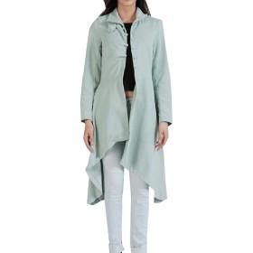 Romancly 女性半ばロングスリミングソリッドカラーフリースウォームコートジャケット Green M