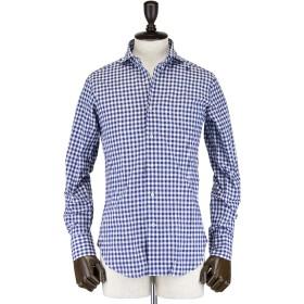 [ROBERTO MAULICIO DA SWEEP!!] メンズ ギンガムチェック柄 コットンリネン ホリゾンタルカラーシャツ Cotton/Linen Gingham(ネイビー)[2×ネイビー(C75)]