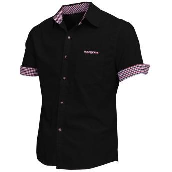メンズシャツ,SODIAL(R) メンズ・ポイント・カラー半袖ボタンカフスカジュアルシャツブラックアジアXXL