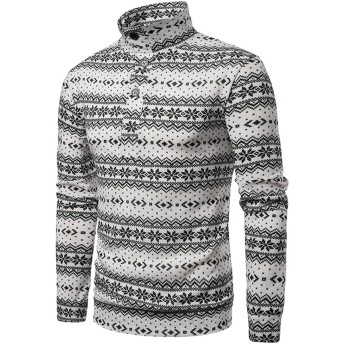Fly Year-JP メンズロングスリーブ高ネッククリスマスセーター雪フレークジャンパープルオーバー White M