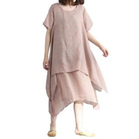 ワンピース E-Bears レディース 半袖 ふんわり 二層 無地 綿麻 ドレス 大きいサイズ 夏 秋 カジュアル ヴィンテージ 着痩せ 自然風 ゆったり