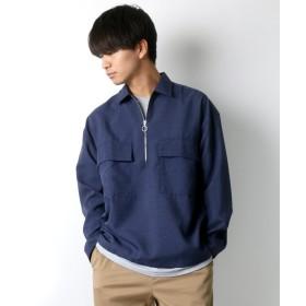 【35%OFF】 ラザル 新作 ポリトロリラックス ハーフジップシャツ メンズ ネイビー M 【LAZAR】 【タイムセール開催中】