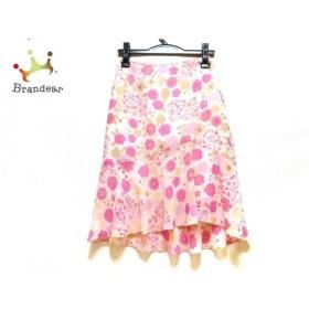 エムズグレイシー スカート サイズ36 S レディース 美品 ピンク×ベージュ×マルチ フラワー   スペシャル特価 20191030