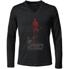 (ブラックバリア) BLACK VARIA Tシャツ スカル ロゴ ドクロ プリント Vネック 長袖 メンズ ブラック黒 ztm017ls LL