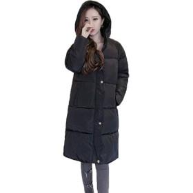 BAJIAN レディース ダウンコート 中綿ジャケット ダウン ロングコート 防寒 厚手 軽量 ゆったり カジュアル 冬物 フード付き 暖かい ブラック XL
