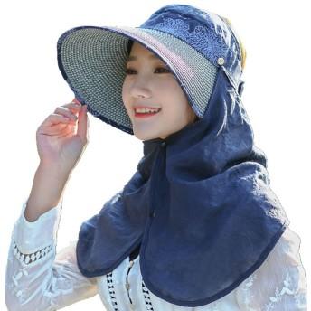 帽子 レディース 折りたたみ 女の子 uvカット uv 夏 つば広 飛ばない ハット サンバイザー 人気 日除け 日よけ帽子 ビーチハット UV対策 アウトドア 自転車 日焼け止め 日焼け防止 かわいい 小顔 (ネイビー)