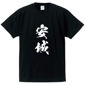 安城 オリジナル Tシャツ 書道家が書く プリント Tシャツ 【 愛知 】 壱.黒T x 白縦文字(前面) サイズ:XL