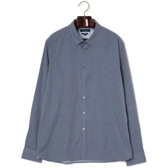 【69%OFF】小紋柄 長袖シャツ ブルー 17.5