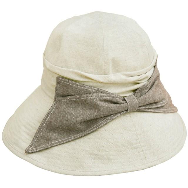 クイーンヘッド エレガントリボンUV ハット UVカット 帽子 レディース 大きいサイズ つば広 ハット 紫外線カット 女優帽 (XLサイズ61cm ナチュラル)
