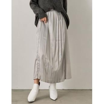 その他スカート - Re: EDIT レイヤード風のラップデザインでセンシュアルな印象に 切り替えサテンプリーツスカート ボトムス/スカート/ロング・マキシ丈(76cm~)