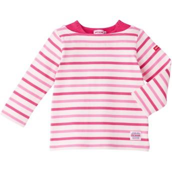 ミキハウス ボーダー長袖Tシャツ 白×ピンク