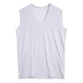 【メール便(12)】 (コントランテ)ContRante forMEN シルキーストレッチ Vネック ノースリーブ Tシャツ 接触冷感 DRY速乾 大きいサイズ S M L LL 3L メンズ