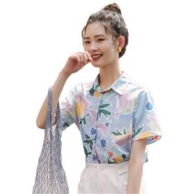 (グードコ) シフォンシャツ レディース ビーチシャツ 半袖 ハワイシャツ 花柄 ポロシャツ カーディガン ブラウス 薄手 カジュアル ショート丈 ゆったり リゾート風 ブルーS