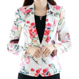 Romancly 女性の大規模な花プリントオープンフロントジャケットブレザー 2 XS