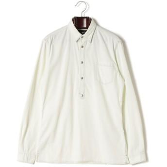 【50%OFF】デニム 長袖ポロシャツ ホワイト xs
