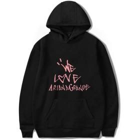 ZXTY Ariana Grande パーカー アリアナグランデフーディー音楽バンド長袖フード付きセータープルオーバーブラック