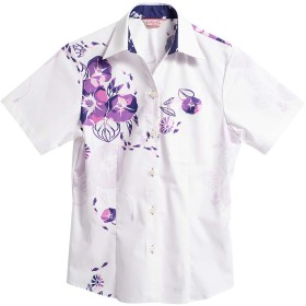 [MAJUN (マジュン)] 国産シャツ かりゆしウェア アロハシャツ 結婚式 レディース シャツ スキッパー プレザシーサイド パープル M