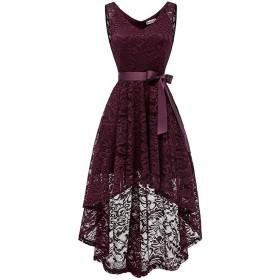 YULUOSHA 結婚式 ドレス ロング丈 レースドレス ワンピース Vネック リボン付 フォーマル パーティー お呼ばれ 披露宴 二次会ドレス バーガンディー XL