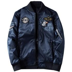 jearey メンズ Jeareyジャケット両面着中綿ブルゾンリバーシブルMA1フライトジャケットミリタリージャンパー刺繍防風防風秋冬大きいサイズ