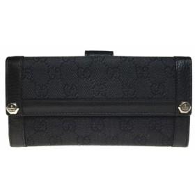 【中古】グッチ(Gucci) 231839 GGキャンバス 長財布(二つ折り)ブラック レザー