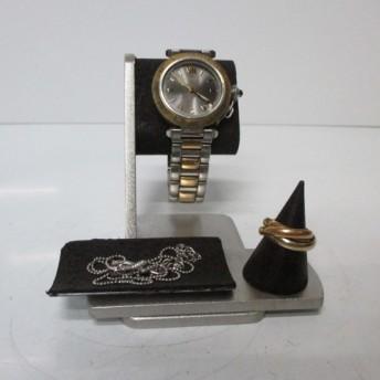 時計スタンド 新作 だ円パイプ女性用ウオッチスタンドブラック 腕時計、リングを飾る AKデザイン