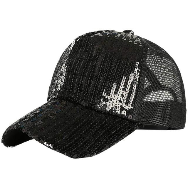 Yeefant 人気 カラフル スパンコール ベースボールキャップ 夏の通気性 ブリング キラキラ おしゃれ キャップ 帽子 野球帽 カジュアル ゴルフ 旅行 UVカット 調節可能 男女兼用