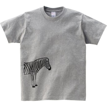 [幸服屋さん] クールなシマウマ柄Tシャツ 動物柄 AM01 M 杢グレー