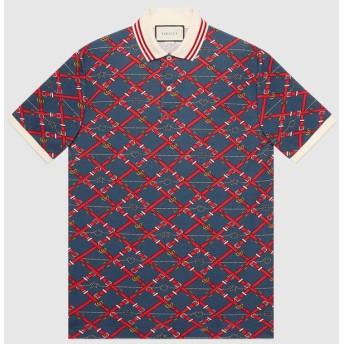 オーバーサイズ プリント ポロシャツ