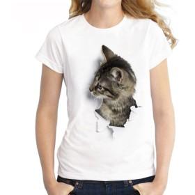 Plus Nao(プラスナオ) トップス レディース メンズ Tシャツ ティーシャツ 半袖 アニマル 猫 動物 グラフィック キャット アート アメリカン M 5