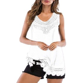 Fly Year-JP Women's V Neck Lace Tank Tops Casual Loose Sleeveless Blouse Shirt White L