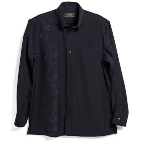 [MAJUN (マジュン)] 国産シャツ かりゆしウェア アロハシャツ 結婚式 メンズ 長袖シャツ ボタンダウン 幾何百合(長袖BD) ブラック LL
